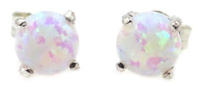 Pair of silver opal stud earrings