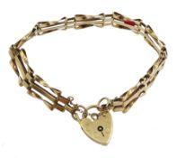 9ct gold three bar gate bracelet