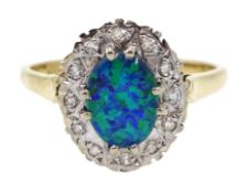 9ct gold opal and diamond cluster ring, hallmarked