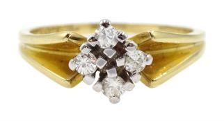 Gold four stone diamond ring