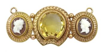 Victorian 15ct gold mounted citrine and cameo pendant