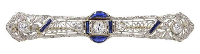 Art Deco platinum diamond and vari-cut synthetic sapphire bar open work brooch