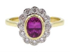 18ct gold pink sapphire and diamond cluster ring