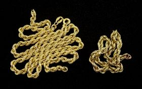 9ct gold rope link necklace and links