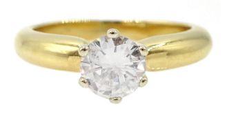 18ct gold single stone round brilliant cut diamond ring