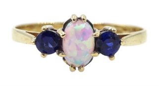 9ct gold three stone oval opal and sapphire