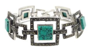 Silver turquoise and marcasite link bracelet