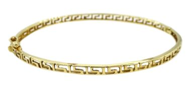 14ct yellow gold Greek key design bangle