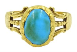 Victorian 18ct gold single stone cabochon turquoise ring