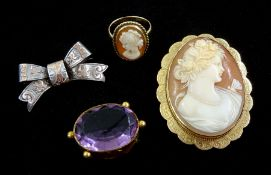 Gold cameo brooch hallmarked 9ct and a similar gold ring
