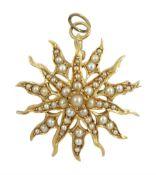 Gold split pearl pendant sunburst brooch