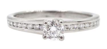 Platinum single stone round brilliant cut diamond ring