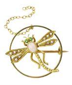 Edwardian gold dragonfly circular brooch