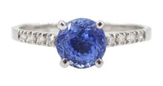 White gold Ceylon sapphire ring