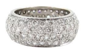 White gold four row pave set diamond full eternity ring