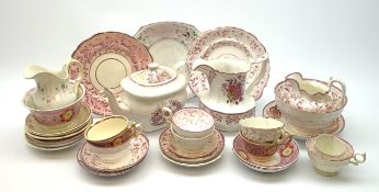 A quantity of assorted 19th century pink lustre teawares