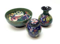 Three pieces of Moorcroft pottery