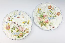 A pair of Italian faience pottery plates
