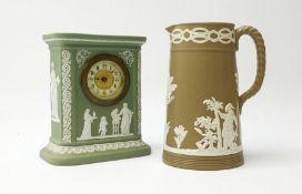 An early 20th century Wedgwood sage green jasper timepiece