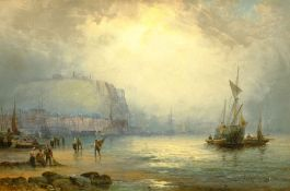 William Anslow Thornley (British fl.1858-1898): 'Scarborough' Figures and Boats on the Foreshore