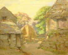 Samuel Dean (British exh.1895-1938): Farmer Resting before a Hayrick