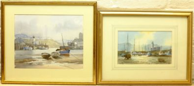 Don Micklethwaite (British 1936-): Low Tide Scarborough Harbour