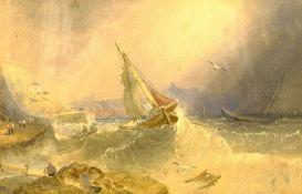 Circle of Henry Barlow Carter (British 1804-1868): Fishing Smacks off Scarborough