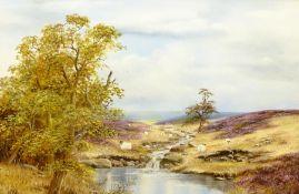 Brian Richardson (British 20th century): Sheep Grazing on the North York Moors