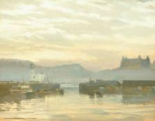 George Dickinson (British 20th century): Scarborough Harbour at Dusk