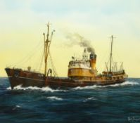 Adrian Thompson (British 1960-): 'St Britwin' - Hull Trawler Ship's Portrait