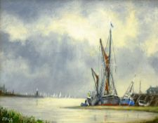 Jack Rigg (British 1927-): 'Storm Ahead' - Boats Moored in an Estuary