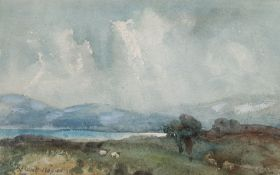 Robert West Napier (Scottish 1876-1962): Sheep Beside a Loch
