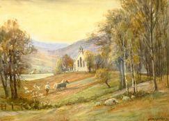 Sam Garratt (British 1864-1946): Ploughing Beside a Church