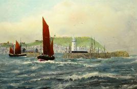 Robert Sheader (British 20th century): Lowestoft Herring Drifters off Scarborough