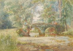 Fritz B Althaus (AKA Frederick Kerr) (British 1863-1962): Packhorse Bridge Winsford Exmoor