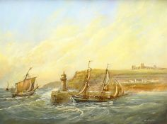 Colin Russell (British 1932-2009): Fishing Boats returning to Whitby Harbour