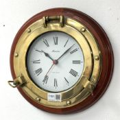 Late 20th century 'Marine' wall clock in the form of a ships porthole, powered by quartz movement, D