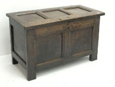 18th century oak blanket chest, panelled lid and front, stile supports, W98cm, H58cm, D49cm
