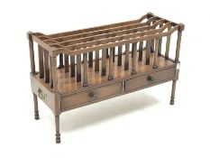 Early 20th century mahogany Canterbury magazine rack, four divisions, turned supports, the frieze fi