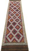 Old Suzni Kilim beige ground runner, geometric pattern