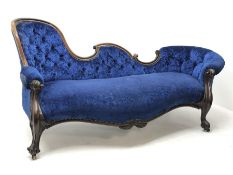 Victorian rosewood chaise longue, shaped buttoned back with c scroll cresting rail, carved and mould