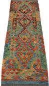 Choli Kilim multi coloured ground runner, geometric pattern
