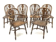 Late 20th century set six (4+2) oak Windsor dining chairs, hoop and stick back with pierced and fret