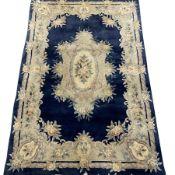 Chinese washed woollen blue ground rug, 275cm x 181cm