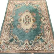 Large Chinese wash woollen turquoise ground rug carpet, 358cm x 255cm