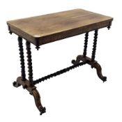 Victorian rosewood side table, rectangular top with rounded corners, four barley twist pillars on pl