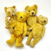 Four teddy bears 1930s - 1950s comprising Chiltern type with gold plush body