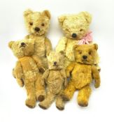 Five English teddy bears c1930s-50s comprising Chad Valley with swivel jointed head