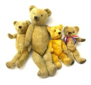 Four English teddy bears 1930s-50s comprising two by Chiltern; another in the Chiltern style; and on