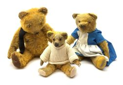 Three English teddy bears comprising 1930s Merrythought with kapok filled bright golden mohair body